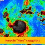 """Tormenta tropical """"Nana"""" se intensifica a huracán categoría 1: impactará Belice, Guatemala y México."""