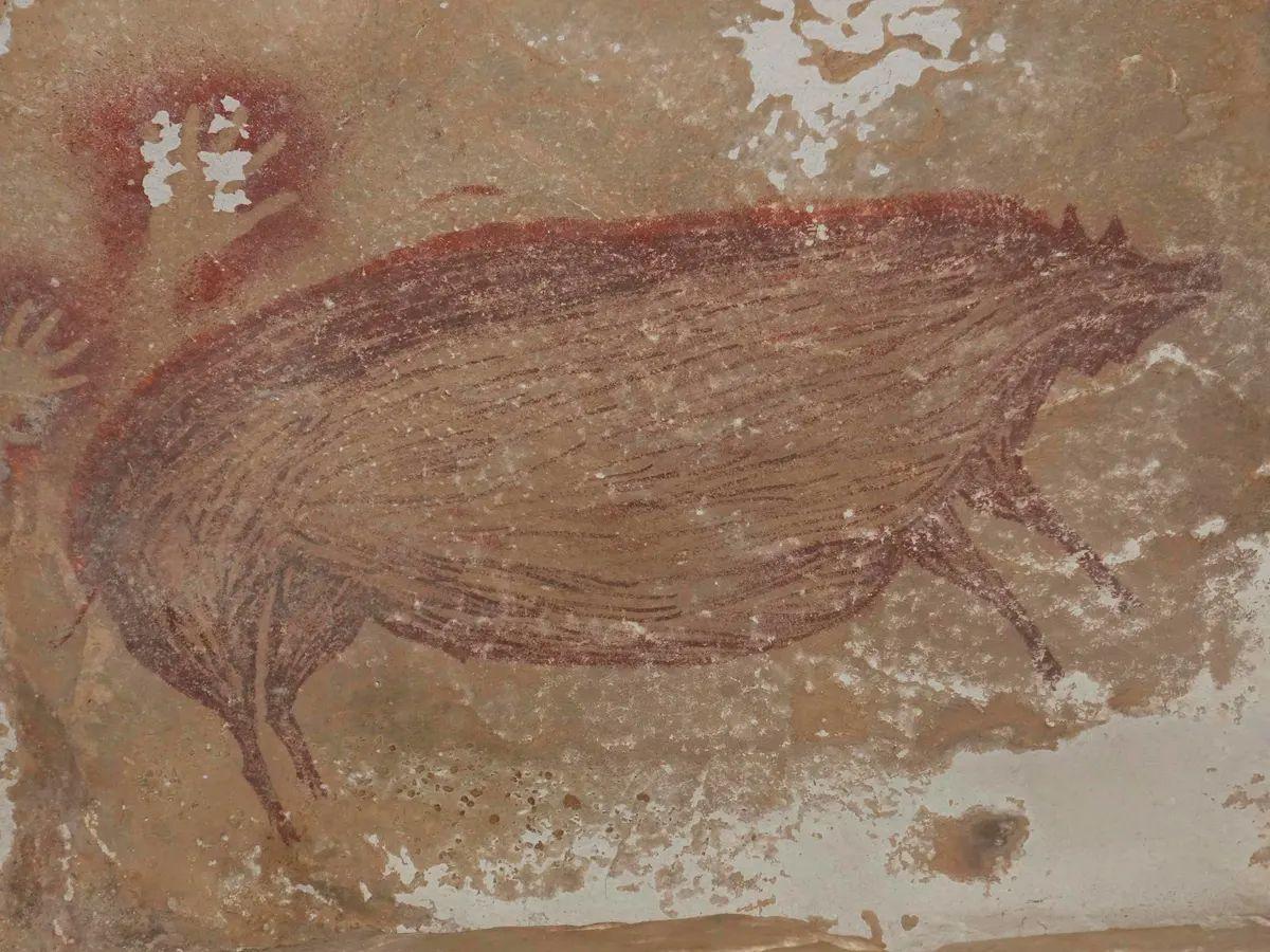 La pintura rupestre de un animal más antigua del mundo es hallada.