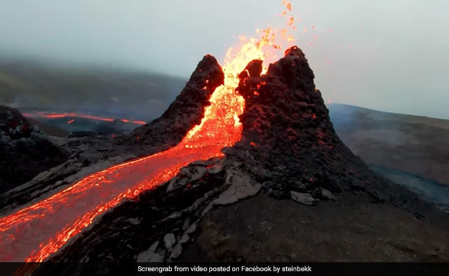 Volcán Fagradalsfjall: dron capta su dramática erupción .