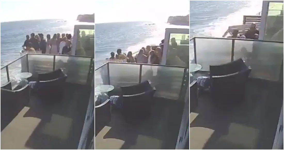 Balcón lleno de gente colapsa en playa de California